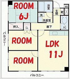 神奈川県横浜市鶴見区平安町2丁目の賃貸マンションの間取り
