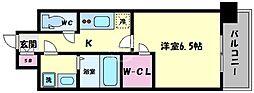 エスプレイス大阪城サウスコンフォート 12階1Kの間取り
