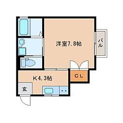 JR東海道本線 静岡駅 徒歩18分の賃貸アパート 1階1Kの間取り