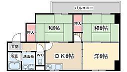 JR大阪環状線 天満駅 徒歩4分の賃貸マンション 3階3DKの間取り