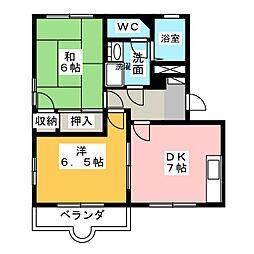 グリーンファームB[1階]の間取り