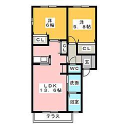 ディアス上浜[2階]の間取り