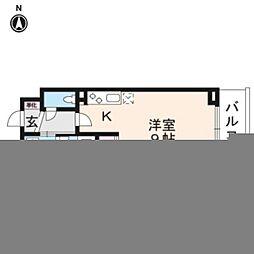 JR山陰本線 丹波口駅 徒歩10分の賃貸マンション 2階ワンルームの間取り