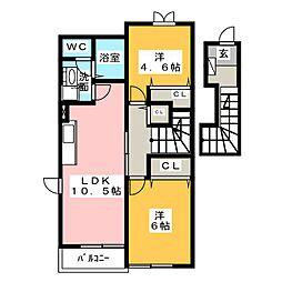 リシェール香樹[2階]の間取り