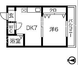 ラクラスコート山王(旧丸三ビル)[5B号室]の間取り