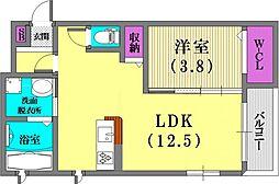 (仮)野崎通ハイツ[202号室]の間取り