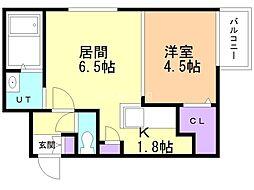 コートロティ南円山 3階1LDKの間取り