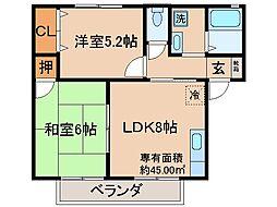 京都府京都市伏見区向島本丸町の賃貸アパートの間取り