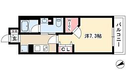 フレールコート東別院 15階1Kの間取り