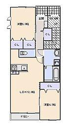 Maison en bois (メゾン オン ボワ)[102号室]の間取り