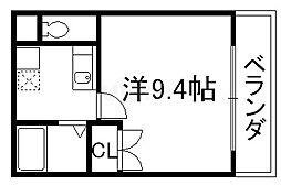 メゾン・マリゼッタ 4階1Kの間取り
