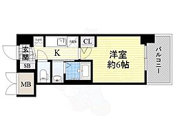 JR大阪環状線 今宮駅 徒歩6分の賃貸マンション 13階1Kの間取り