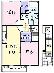 兵庫県赤穂市北野中の賃貸アパートの間取り