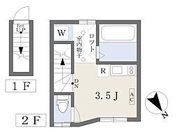 京急本線 立会川駅 徒歩4分の賃貸アパート 2階ワンルームの間取り