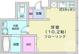 仙台市地下鉄東西線 大町西公園駅 徒歩5分の賃貸アパート 1階ワンルームの間取り