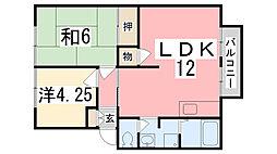 兵庫県姫路市辻井7丁目の賃貸アパートの間取り