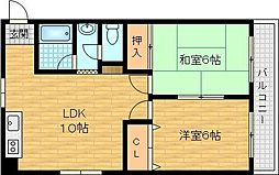 Osaka Metro谷町線 千林大宮駅 徒歩5分の賃貸マンション 2階2LDKの間取り