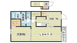 龍野町堂本アパートII[203号室]の間取り