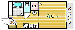 大阪府茨木市西中条町の賃貸アパートの間取り