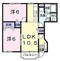 千葉県東金市田間1の賃貸アパートの間取り