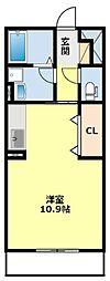 名鉄豊田線 黒笹駅 徒歩7分の賃貸アパート 3階ワンルームの間取り