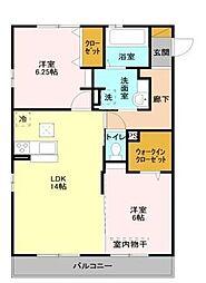 埼玉県さいたま市岩槻区大字尾ケ崎新田の賃貸アパートの間取り