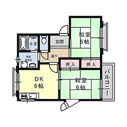 大阪府高槻市京口町の賃貸アパートの間取り
