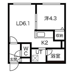 北海道札幌市北区北三十四条西2丁目の賃貸マンションの間取り