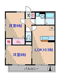 神奈川県横浜市港北区日吉6丁目の賃貸アパートの間取り