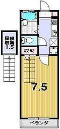 キャスル松山[102号室]の間取り