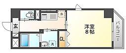 JR山陽本線 岡山駅 徒歩14分の賃貸マンション 8階1Kの間取り