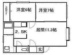 北海道札幌市南区澄川六条4丁目の賃貸アパートの間取り