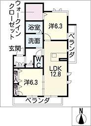 ニッケノーブルハイツ一宮 A棟[2階]の間取り