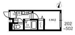 JR京浜東北・根岸線 王子駅 徒歩4分の賃貸マンション 5階ワンルームの間取り