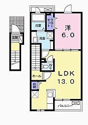 イール&ランタン 2階1LDKの間取り