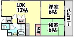 大阪府高石市綾園6丁目の賃貸マンションの間取り