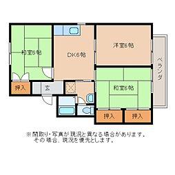 静岡県静岡市葵区千代田の賃貸アパートの間取り