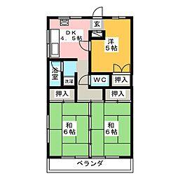 國枝ハイツ[4階]の間取り