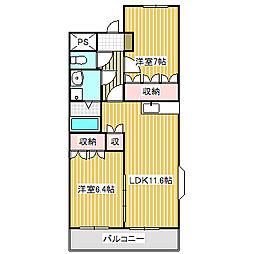 愛知県名古屋市中川区戸田明正2丁目の賃貸マンションの間取り