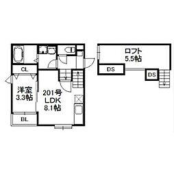 西鉄天神大牟田線 大橋駅 徒歩10分の賃貸アパート 2階1LDKの間取り