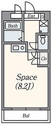 ロイヤルアーク 3階ワンルームの間取り