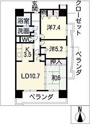 アーバンドエル八事石坂[2階]の間取り