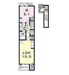 西武池袋線 東久留米駅 徒歩10分の賃貸アパート 2階1LDKの間取り