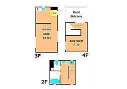 corridor 4階1LDKの間取り
