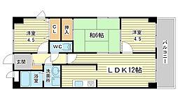兵庫県姫路市飾磨区中島の賃貸マンションの間取り