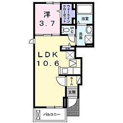 福岡県北九州市八幡西区東鳴水4丁目の賃貸アパートの間取り