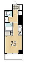 東急田園都市線 駒沢大学駅 徒歩2分の賃貸マンション 2階ワンルームの間取り