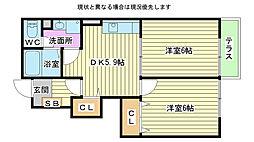 兵庫県加古川市別府町新野辺523丁目の賃貸アパートの間取り
