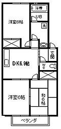 愛知県西尾市今川町馬捨場の賃貸アパートの間取り