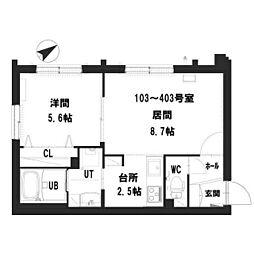 仮)グランメール 宮の沢2-1II 2階1LDKの間取り